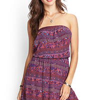 FOREVER 21 Strapless Paisley Print Dress Rust/Blue