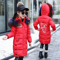 New Fashion Girls Winter Coat Letter Printed Kids Thick Jacket Fur Hooded Warm Children Cotton Outwear