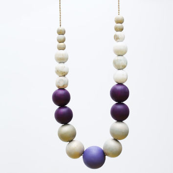 Satin white, dark purple extra large necklace, chunky wooden beads, pastel lilac purple, satin white wood hand painted necklace