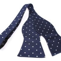 Men's Bow Tie (Self Tie / Untied Bowtie) Navy Blue Polka Dot (X325-UTBT) Bowties Bow Ties Necktie Men Tuxedo Wedding Formal