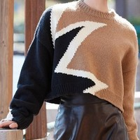 Color Block Star Pattern Long Sleeve Knit Sweater