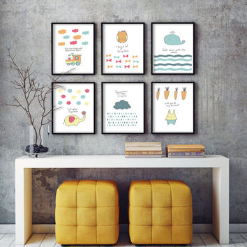 Modern Simple Cartoon Whal A4 Art Print Poster Image Canvas Mural Room Children's Baby Bedroom Home Decor No Frame Painting 001