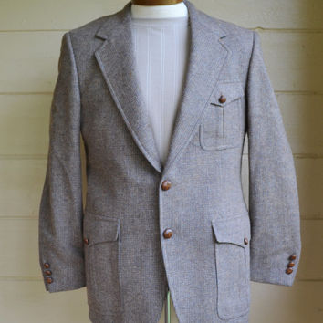 Vintage Mens Gray Tweed Sport Coat 1970s Wool Jacket by John Weitz by Palm Beach Sport Coat