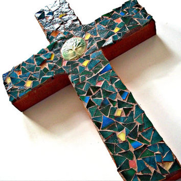 Mosaic Cross // Green Stained Glass // Tree of Life // Wall Art // Mosaic Wall Hanging // Stained Glass Cross // Home Decor // 9 x 6 inches