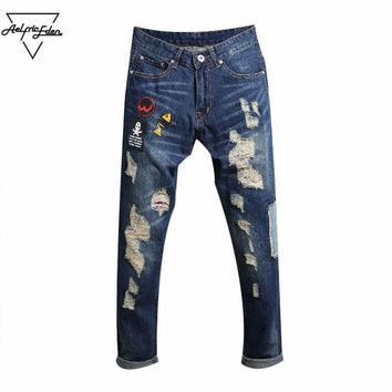 qiyif Patches Skinny Jeans Men Straight Denim