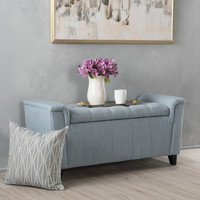 Perris Versatile New Velvet Armed Storage Ottoman Bench