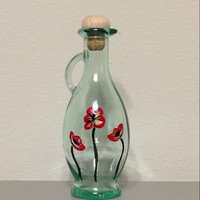 Olive Oil Bottle Hand Painted with Red Poppies