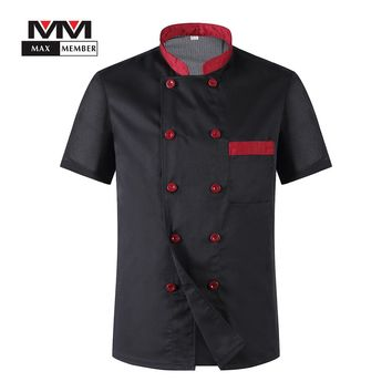M-3XL Men Short Sleeves Breathable Mesh Patchwork Chef Food Service Cuisine Cook Workwear T-shirt Kitchen Work Uniforms XS017