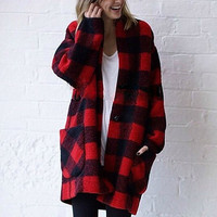 wool plaid jacket in red and black for women featuring oversize,loose fit,casual,warm,cocoon,vintage,fashion,for winter.Christmas gift.-724