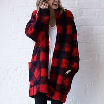 plaid coat,plaid jacket,oversized coat,wool coat,red coat,green coat,oversized jacket,fashion coat,winter coat women.--E0759