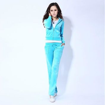 Juicy Couture Pure Color Velour Tracksuit 6047 2pcs Women Suits Light Blue