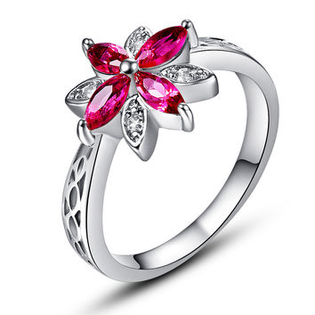 Wonderful Fllower Cluster Jewelry Lady Girl Marquise Cut Red Ruby with AAA White CZ 14K White Gold Plated Ring Size 6 7 8 9 10