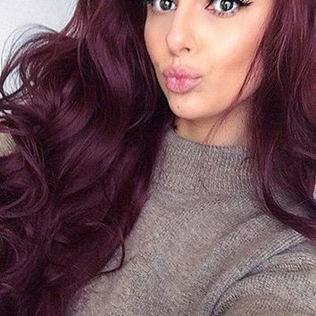 Reddish Brown Synthetic Wave Lace Front Wig