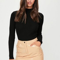 Missguided - Nude Vinyl Mini Skirt