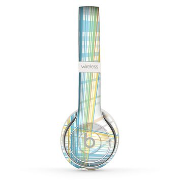 The Bright Blue and Yellow Lines Skin Set for the Beats by Dre Solo 2 Wireless Headphones