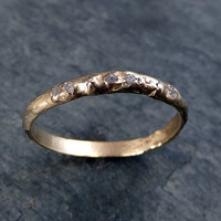 Custom Raw Rough Uncut Diamond Wedding Band 14k Gold Wedding Ring by Angeline