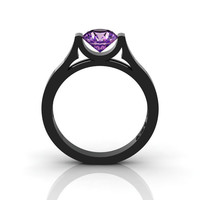 14K Black Gold Elegant and Modern Wedding or Engagement Ring for Women with an Amethyst Center Stone R665-14KBGAM