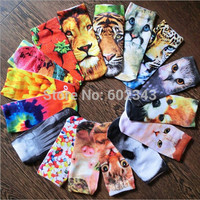 3D Printed Socks Animal Candy Money Food Low Cut Ankle Cotton Women