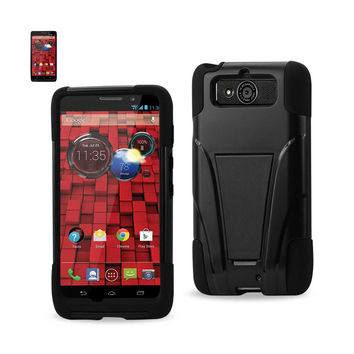 REIKO MOTOROLA DROID MINI HYBRID HEAVY DUTY CASE WITH KICKSTAND IN BLACK