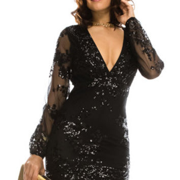 Sequins Party Mini Black Dress 70493