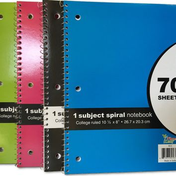 70 SHEET - Spiral Bound 1 SUBJECT NOTEBOOK - COLLEGE RULED Case Pack 24