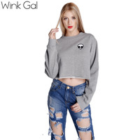 Wink Gal Autumn Women's T-shirts Print T-shirt Tee Alien Nature Long Sleeve Pullover Woman Fashion W1857
