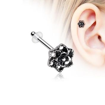 Camellia Flower Filigree Icon Piercing Stud with O-Rings