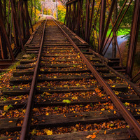 Train bridge during autumn, York County, Pennsylvania.   - Nature Fine Art Print or Gallery Wrap Canvas