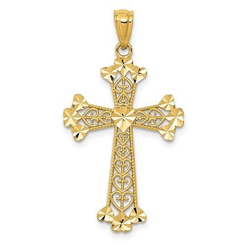 14K Yellow Gold Diamond Cut Polished Filigree Hearts Cross Pendant