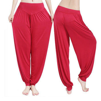 Plus Size Colorful Bloomers No Shrink Yoga TaiChi Full Length Pants