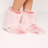 Missguided - Fluffy Slipper Boot Pink