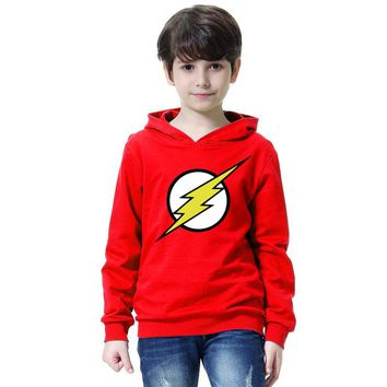 The Flash Star Red Color Kids Sweatshirt Boys Novelty Comic Super Hero Pullover Sweatshirt 2018 Children Clothes Arrow Friend