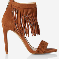 FRINGE BRAIDED RUNWAY HEELED SANDAL from EXPRESS