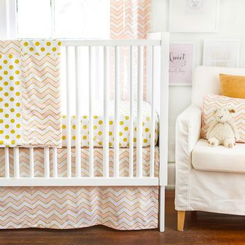New Arrivals Gold Rush Fitted Crib Sheet & Bed Skirt Set