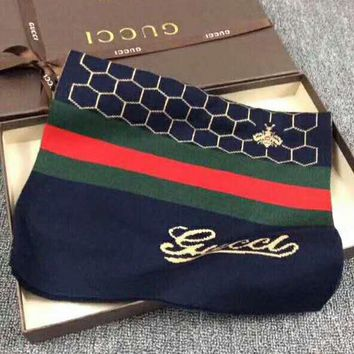 GUCCI Newest Fashionable Cashmere Cape Scarf Shawl Scarves Accessories Blue