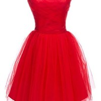 PrettyDresses Women's Short Red Cocktail Bridesmaid Prom Party Dresses US 2
