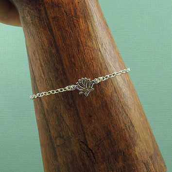 Tiny Lotus Charm Bracelet - sterling silver bracelet - yoga jewelry - lotus flower pendant charm - bridesmaid gift - gift for friend