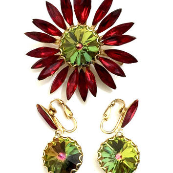 Floral Rhinestone Demi, Brooch & Dangle Earring Set, Red Navettes and Watermelon Rivoli Rounds, Gold Tone, Clip-on Earrings, Vintage Set