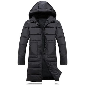 Winter Mens Hooded Long Coat Parka 2017 New Arrivals Quilted Jacket Male Down Cotton Wadded Coat Winter Warm Outwear Black 3XL