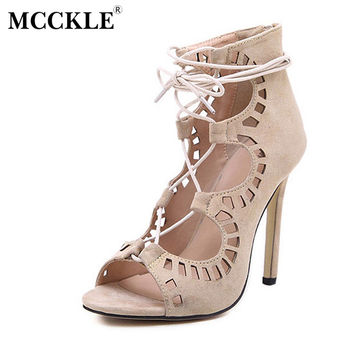 MCCKLE Women's Fashion Faux Suede Lace Up Strappy Ankle Gladiator Boots High Heels Hollow Out Peep Toe Sandals Pumps Women
