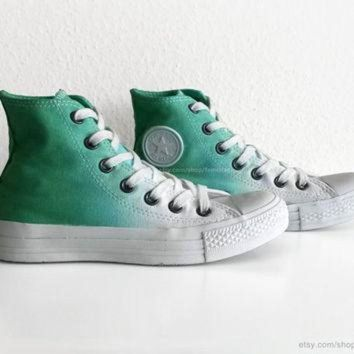 DCCK1IN fresh green ombre converse dip dye upcycled vintage sneakers all stars chucks high