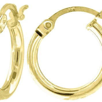 2mm Light Weight Polished Hoop Earrings in 10k Yellow Gold