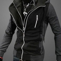 Block Hoodie Double-Zipper Sweatshirt