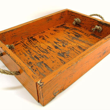 Weathered Orange Painted Wooden Tray with Rope Handles - Distressed Orange Wood Serving Tray - Fall Centerpiece Tray - Autumn Ottoman Tray