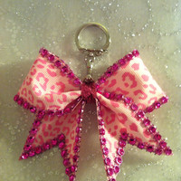 Cheer Bow Key Chain Pink leopard Bling