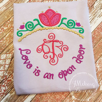 Frozen Anna Princess Inspired Monogram Tiara with Phrase - Princess Movie - Custom Tee