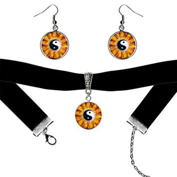 Yin Yang Balance Blossom Healer Black Velvet Choker & Silver Hypoallergenic Surgical Steel Earrings Set