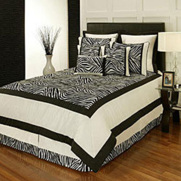 Sherry Kline Zuma Print Black and White 8-piece Comforter Set | Overstock.com