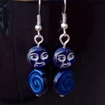 Galaxy Blue Moon Silver Earrings