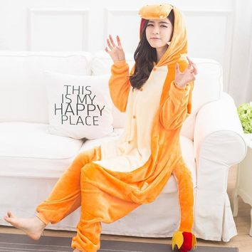 Pokemon Charmander Animal Cosplay Costume Onesuit Hoodie For Adult Women Men Halloween Holiday Party Flannel Full Length
